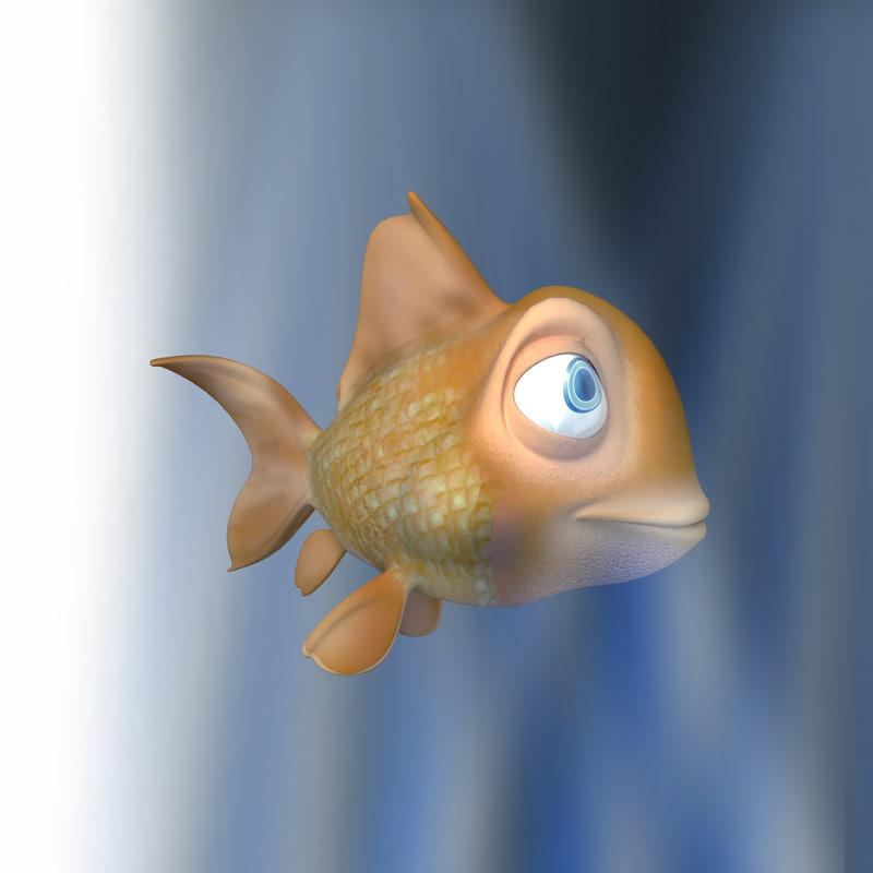3d model orange fish cartoon