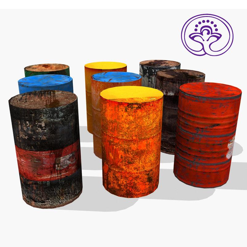 metal barrel 3d max