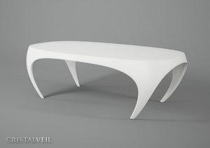3d cristal veil design table model