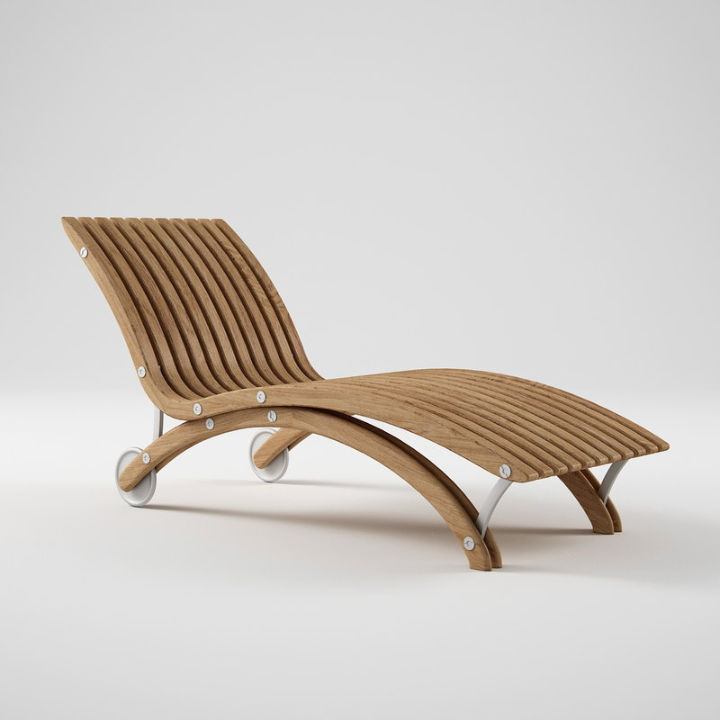 3d model of diamond teak chaise lounge