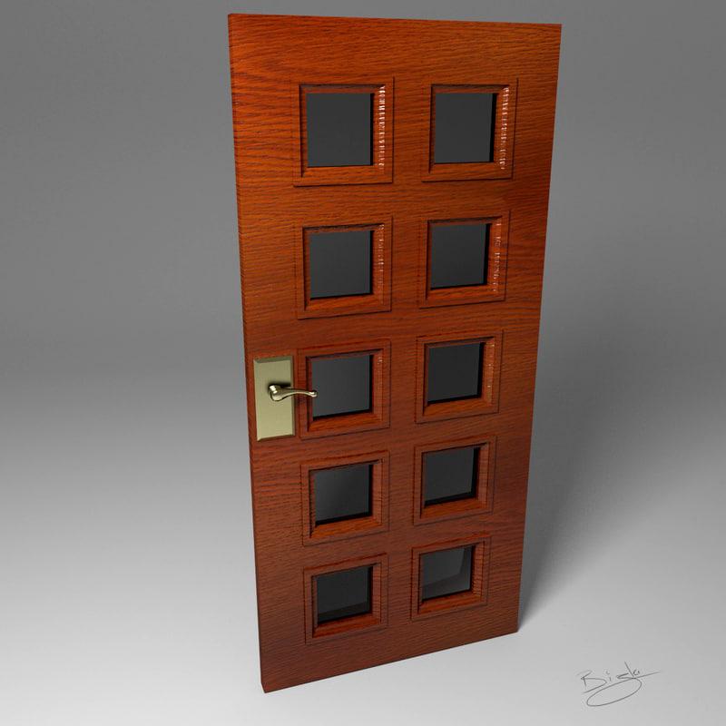 windowed door wood 3d x