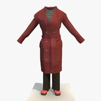 3ds max womans red winter