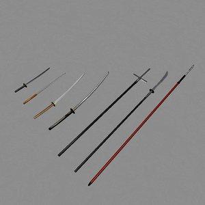 mele weapons naginata yari obj