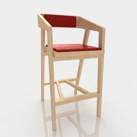 Bar stool 86 ash wood red leather