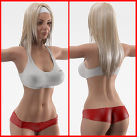 3d model fitness girl female