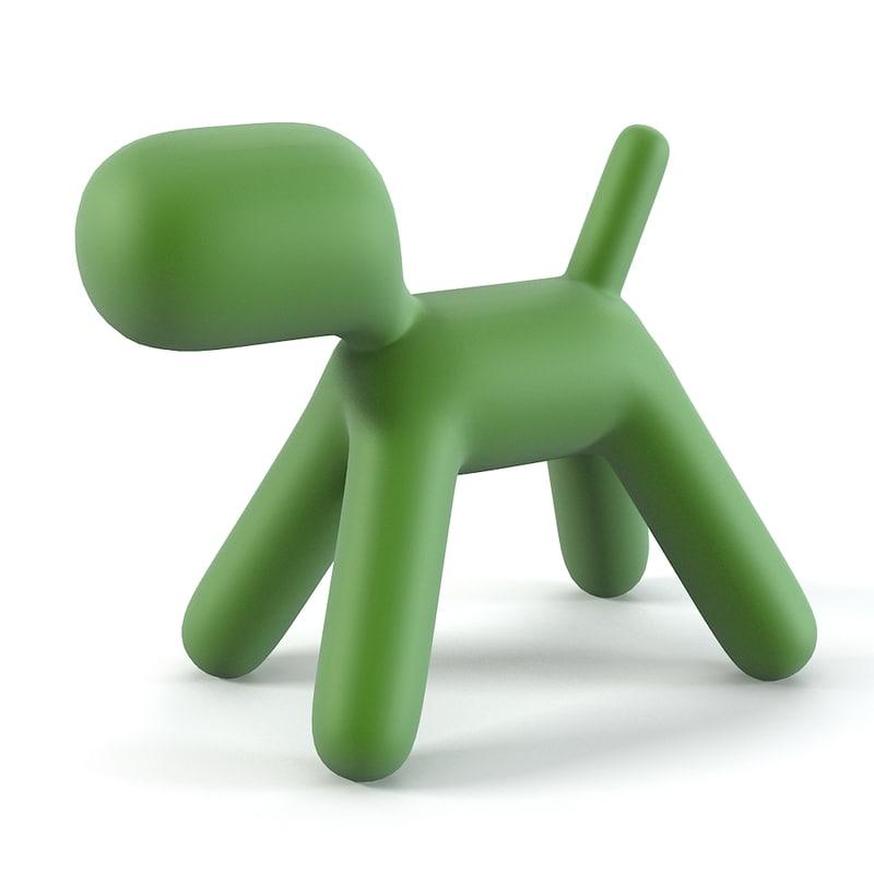 3d magis xl-ggreen puppy chair