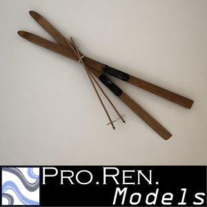 3d model old skis