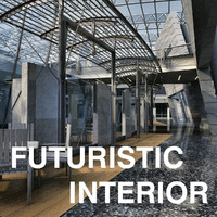 3d max futuristic interior hall lobby