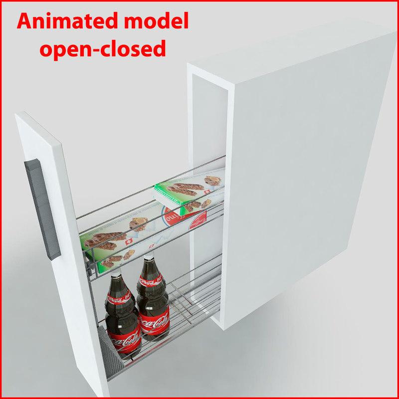 3d kitchen slider cabinet storages