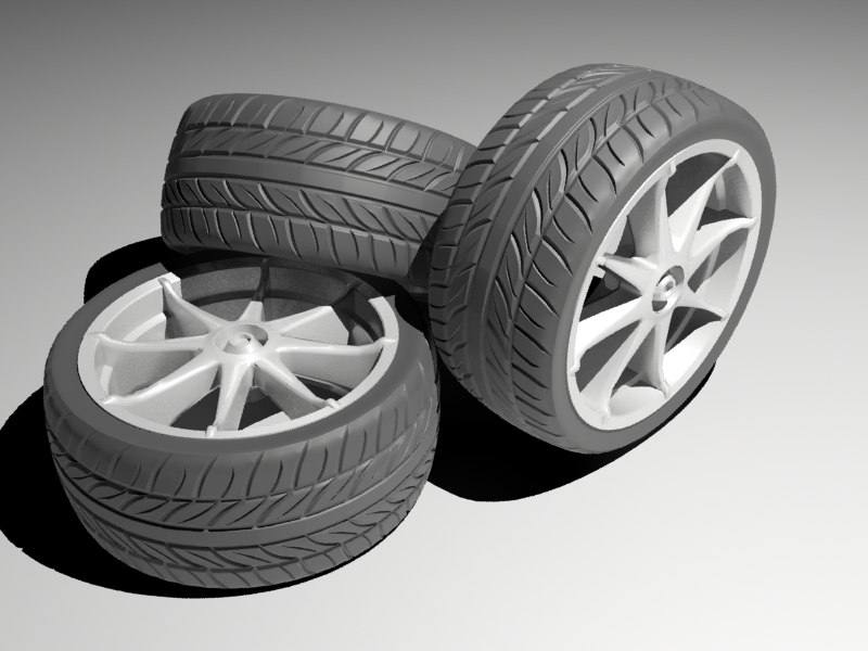 sport car tire 3d max
