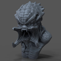 free obj model predator bust sculpture