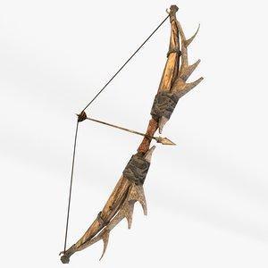 3d fantasy bow arrows model