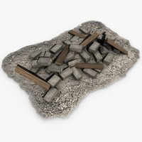 stone pile planks 3d 3ds