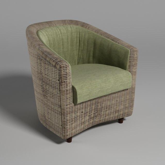 3d model rattan chair varaschin