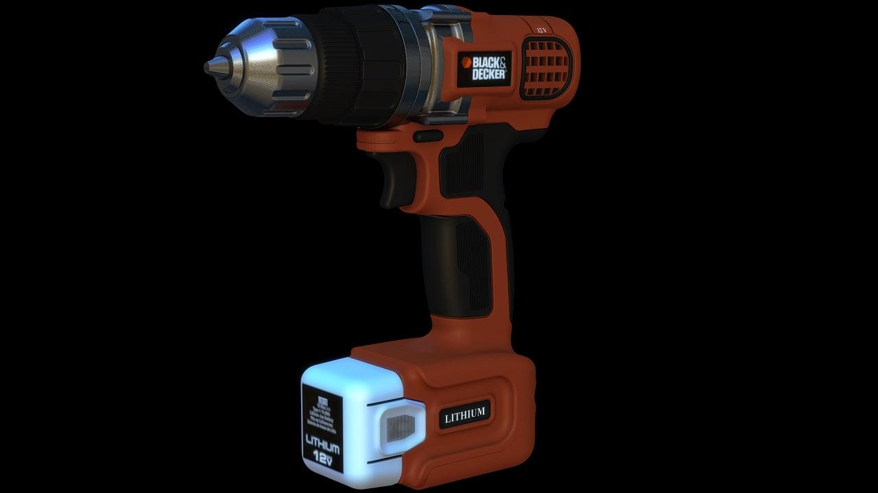 black decker cordless drill 3d model
