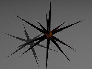 3d creature spikes enemies model