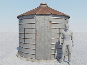 old grain bin 3d obj