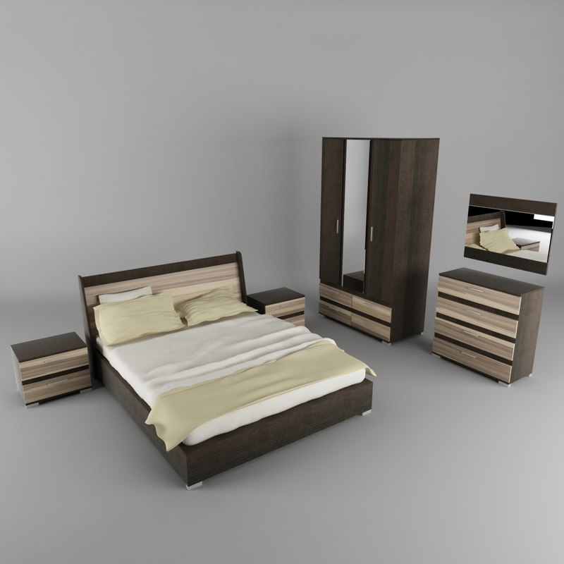 bedroom set bed cabinet 3d 3ds