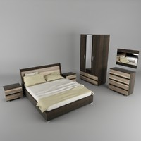 bedroom set bed cabinet 3d 3ds