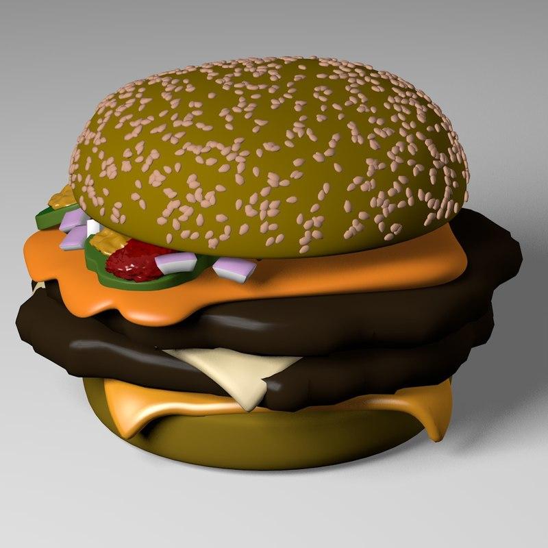 3d model cheese burger