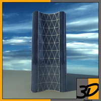 bow office building tower 3d fbx
