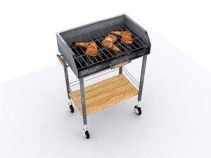 3d barbecue grill bbq model
