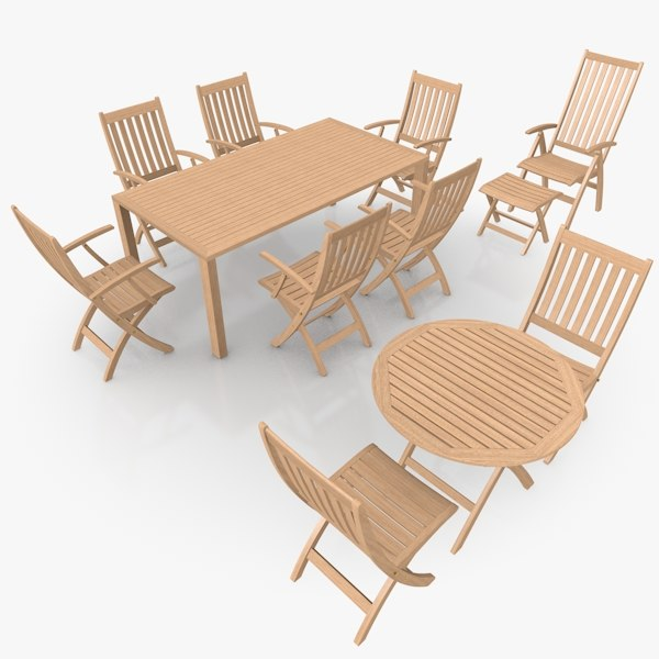 foldable patio furniture scene 3ds