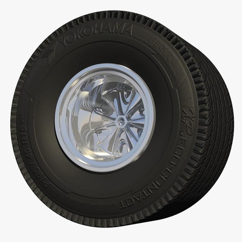 3d race car wheel tire model