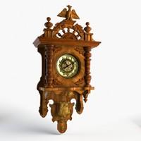 old wood clocks 3d model