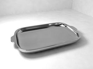 3d silver tray model