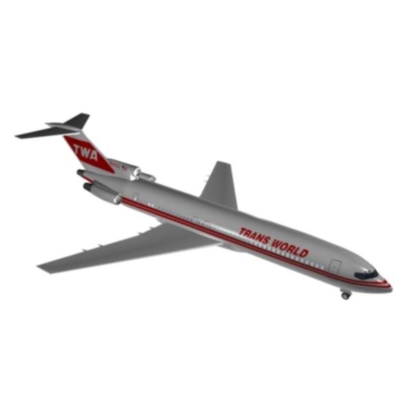 3d model trans world 727-200 727