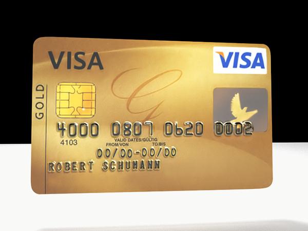 visa credit card 3d model