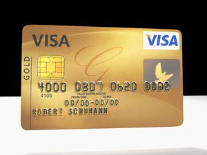 visa credit card 3d model