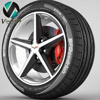 corvette rim tyre 3d model