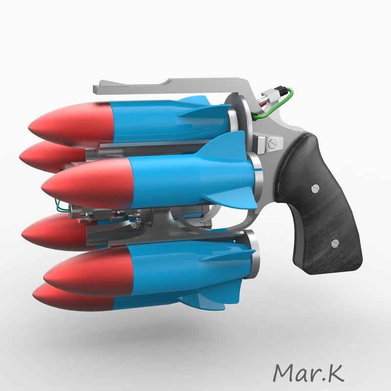 sci-fi rocket revolver 3d obj