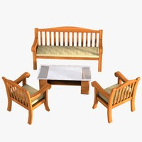 Wooden Sofa, Table & Two Seats