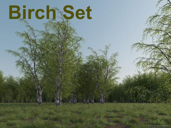 3ds max birch tree set