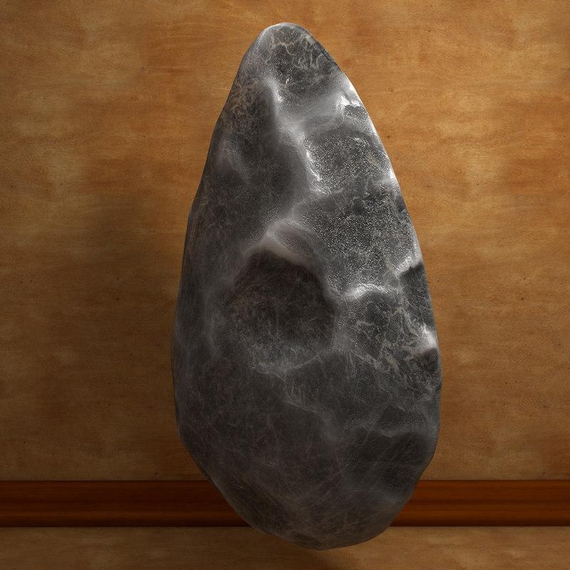 3d prehistoric biface hand model