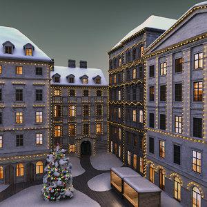 3ds max christmas street scene