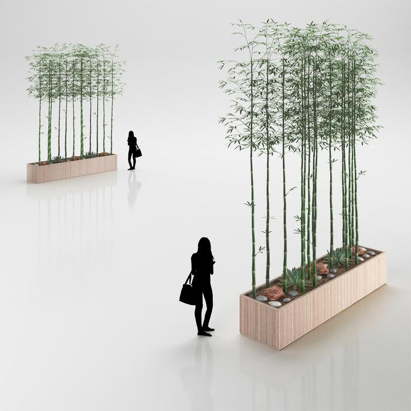 bamboo wooden pot 3d model