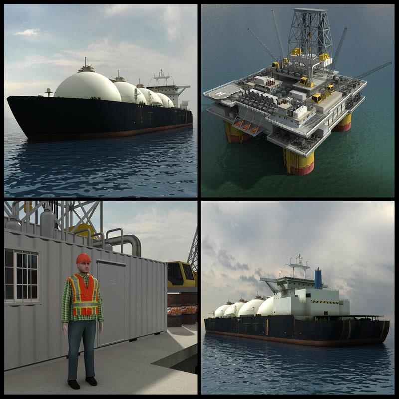 3d model oil platform tanker ship