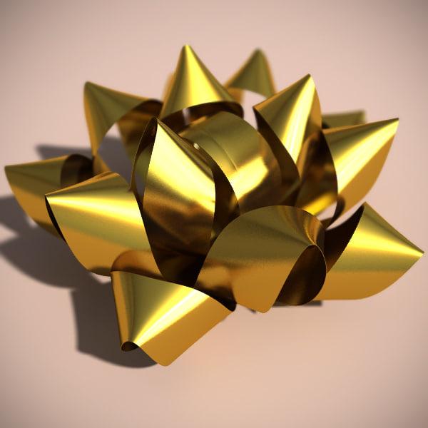 foil gift bow 3d 3ds