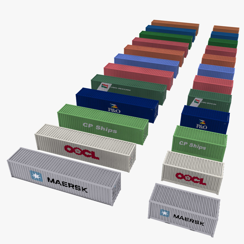 3d containers shipping model