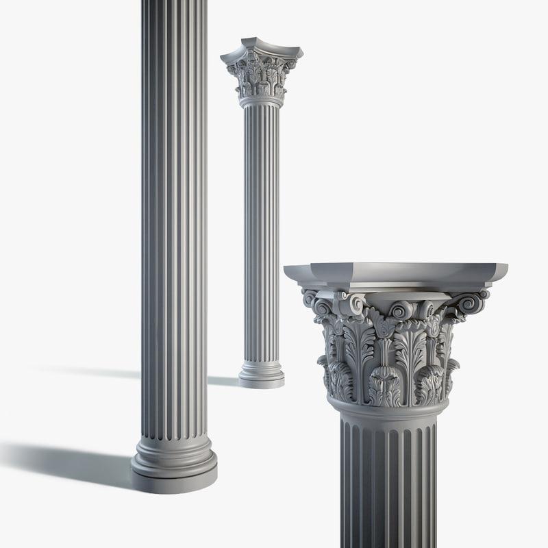 classical column c03 3d model