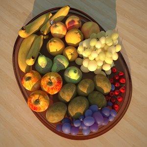 3d fruits bowl model