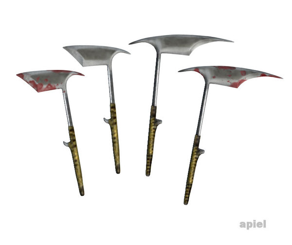 philippine headhunter axes set 3d obj