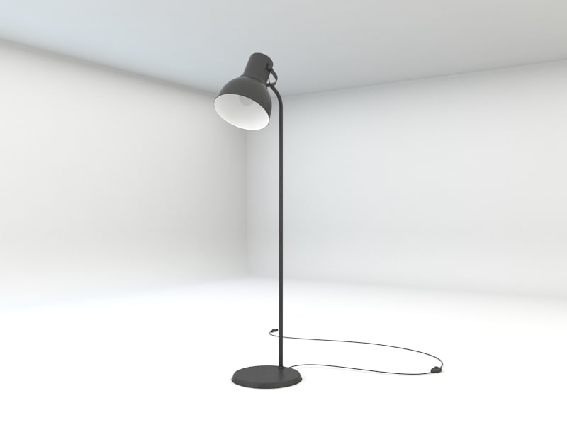 ikea hektar floor lamp 3d 3ds. Black Bedroom Furniture Sets. Home Design Ideas