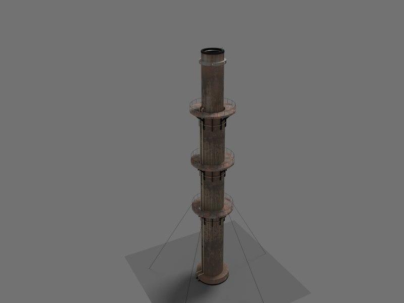 industrial chimney 3d obj