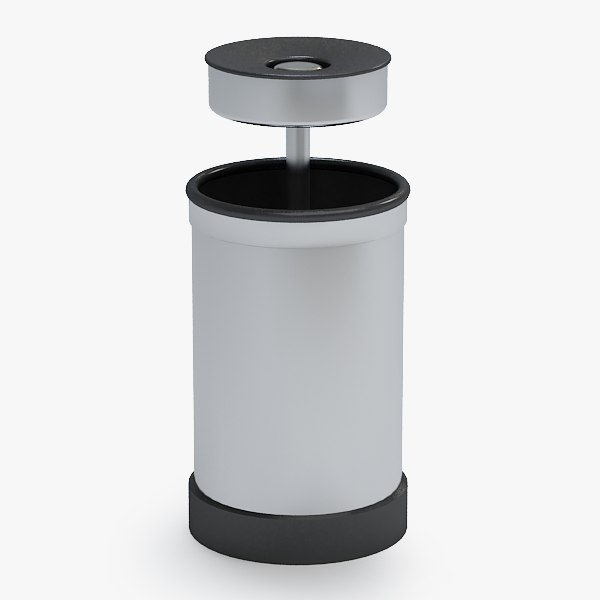 3d trash bin ash model