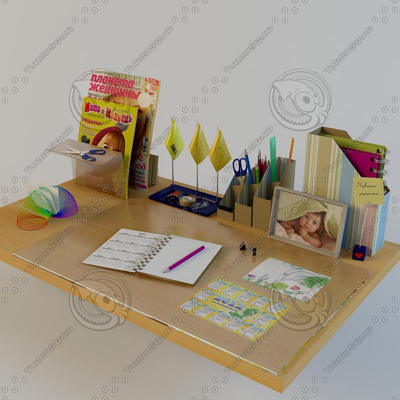 3d model set desk